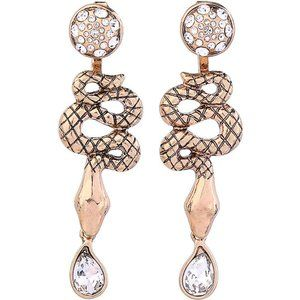 Jewelry - Wear 2 Ways! Gold SNAKE Dangle Stud Earrings NEW